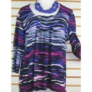 Knit stretch blend colorful striped top Pull over